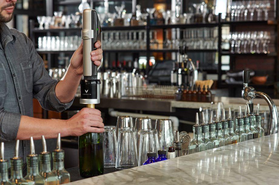 Bartender demonstrates the Coravin Sparkling wine preservation system