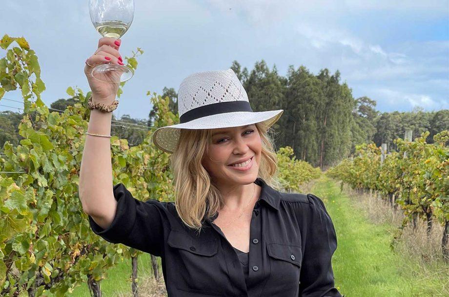 Kylie Minogue in a vineyard