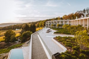 Hotel rooms, terrace and swimming pool overlooking vineyards