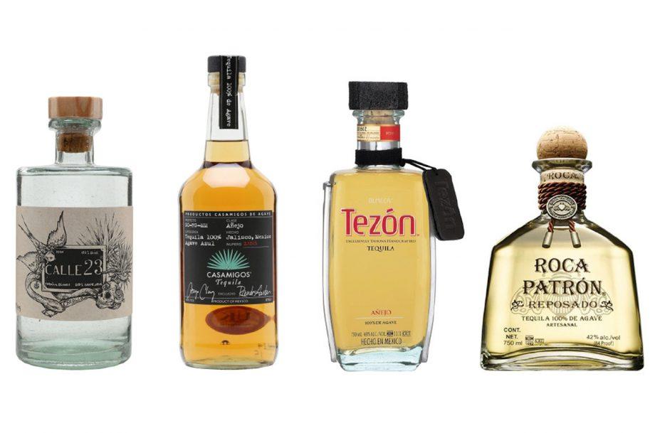 Four bottles of tequila for sipping: Calle 23 Criollo, Casamigos Anejo, Olmeca Tezon Anejo, Patron Roca Reposado