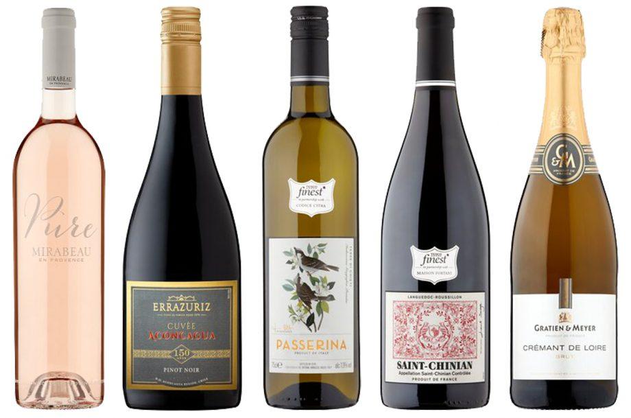 Five bottles of Tesco wines