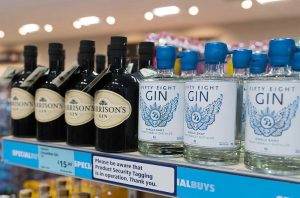 Bottles of gin on a shop shelf