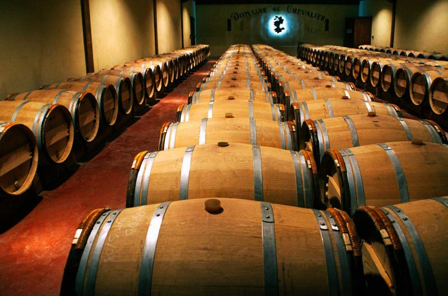 Inside the Domaine de Chevalier cellars, where the 2020 vintage is being aged.