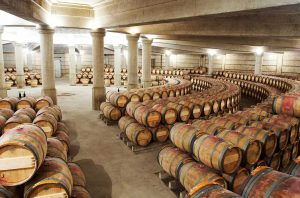 Lafite Rothschild cellars in Bordeaux, where en primeur wines and others are aged in barrel.