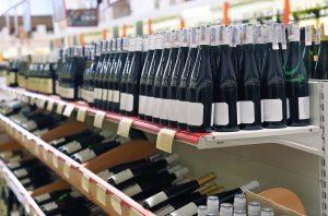 Bottles of wine in a shop