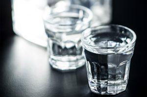 Shot glasses of vodka