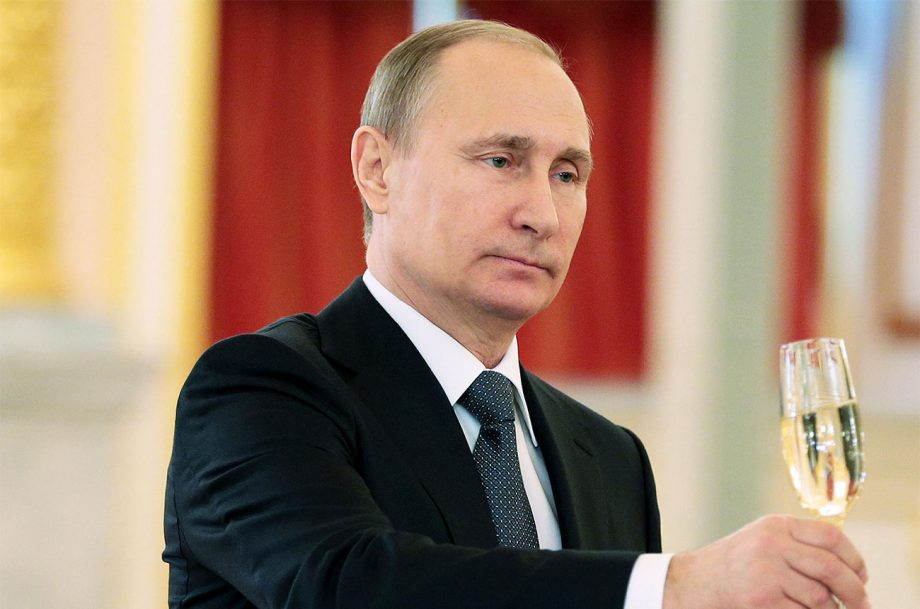 President Putin with a glass of Champagne