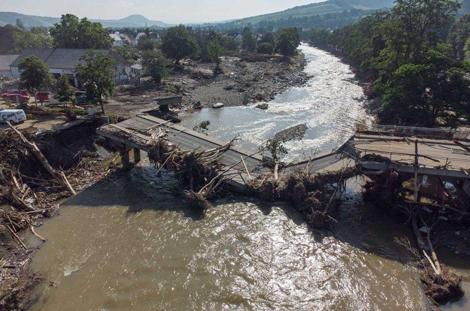 Deadly Europe floods: A bridge destroyed in Germany's Ahr Valley wine region.