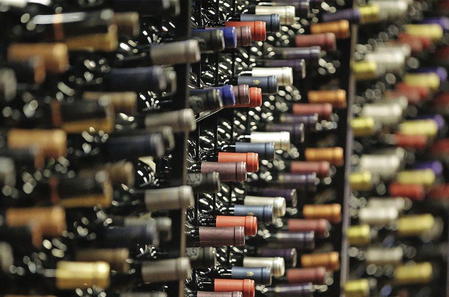 Bottles of wine in a rack