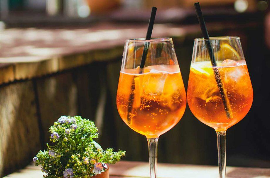 Aperol spritz cocktails.