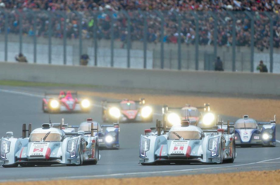 Racing during the 24 Hours of Le Mans race