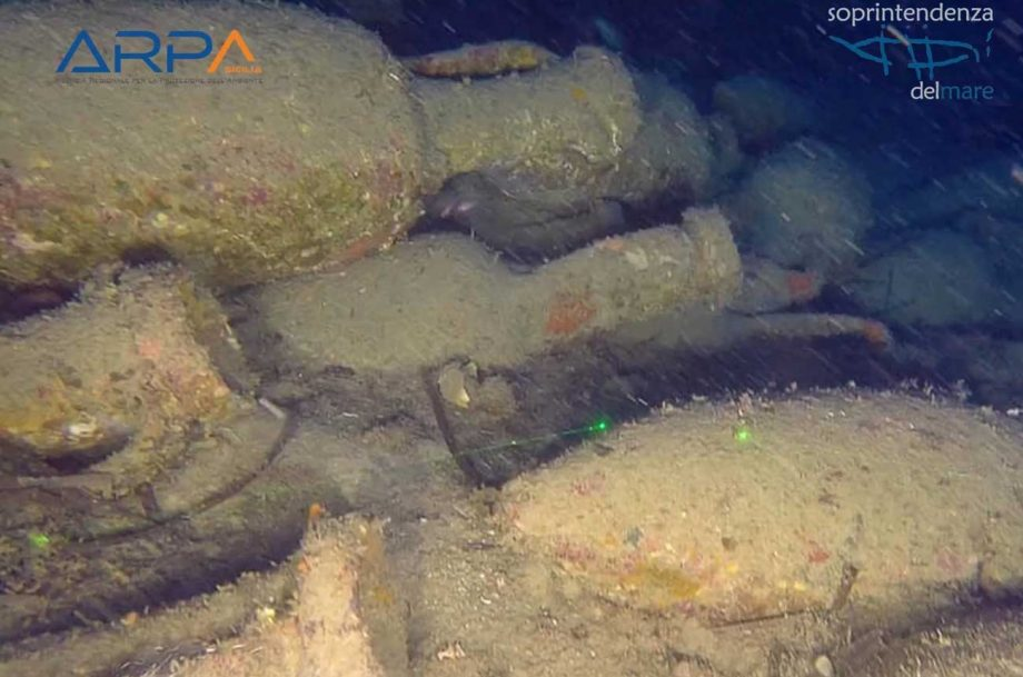 Wine vessels found with ancient Roman shipwreck near Sicily, from the second century BC.