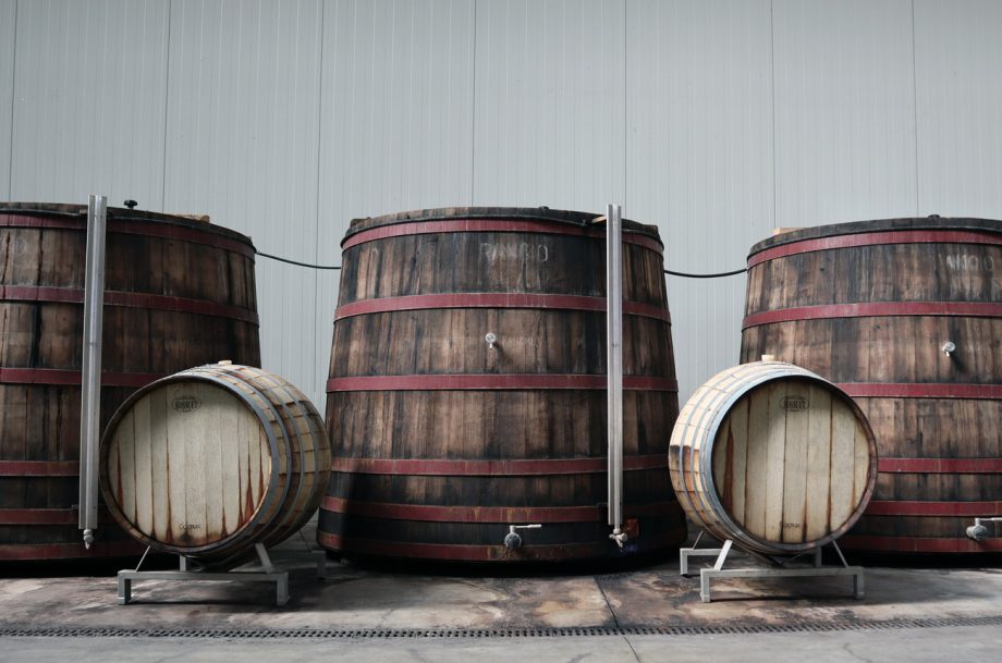 Different sizes of wine barrels
