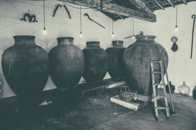 A wine cellar with five large clay amphorae for ageing wines