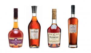 Four bottles of VS Cognac: Frapin, Courvoisier, Hennessy, Camus