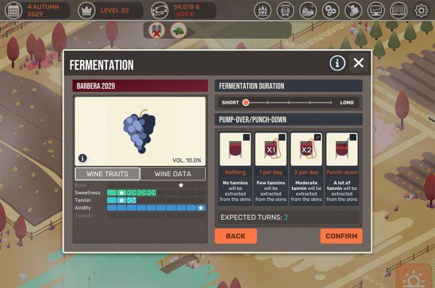 Juego de elaboración del vino de los cien días, captura de pantalla de la administración del sótano