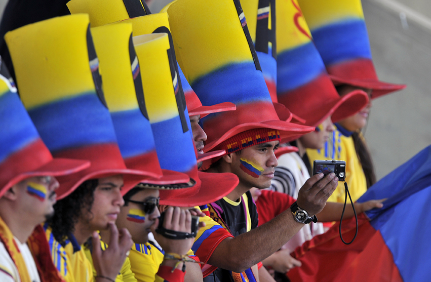 Colombia fans at their Copa America game with Peru