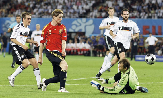 Fernando Torres scores the winning goal for Spain against Germany