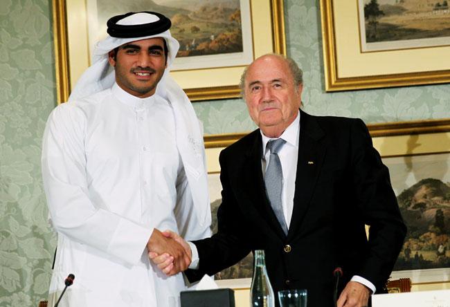 Sepp Blatter with Sheik Mohammed bin Hamad