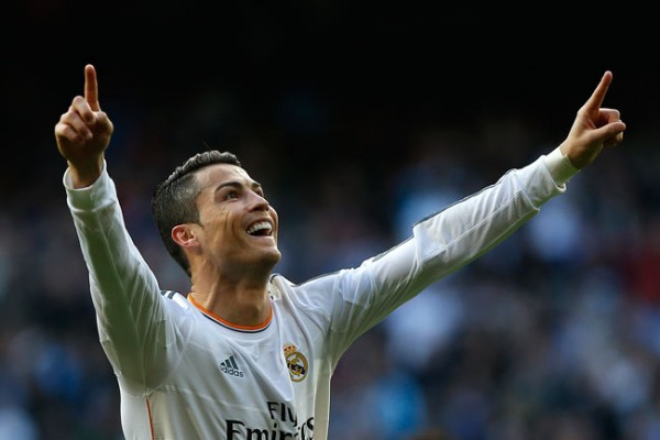 Cristiano Ronaldo celebrates scoring.