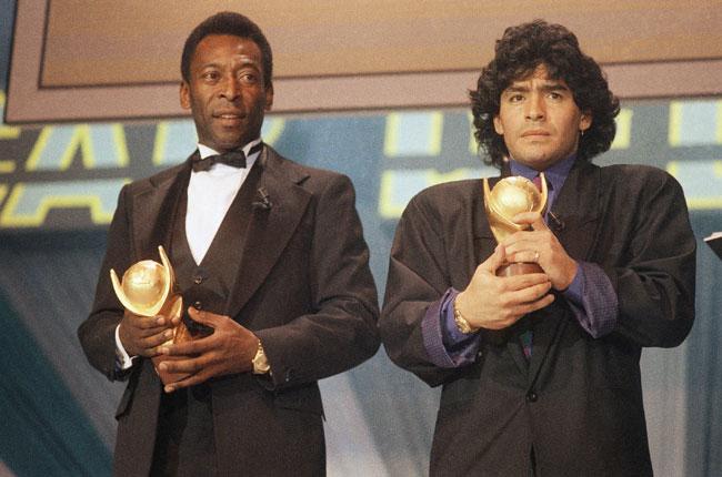Pele alongside Diego Maradona