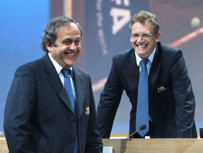 UEFA President Michel Platini and FIFA general secretary Jerome Valcke