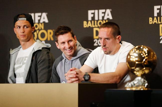 Franck Ribery alongside his fellow Ballon d'Or rivals.