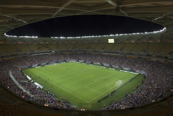 A general view of the Arena Amazonia Vivaldo Lima soccer stadium during the inaugural match in Manaus