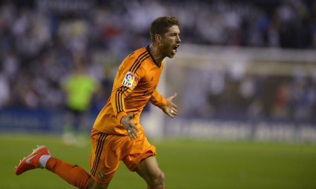 Real Madrid's Sergio Ramos celebrates his goal against Valladolid during their Spanish First Division soccer match at Zorrilla Stadium in Valladolid