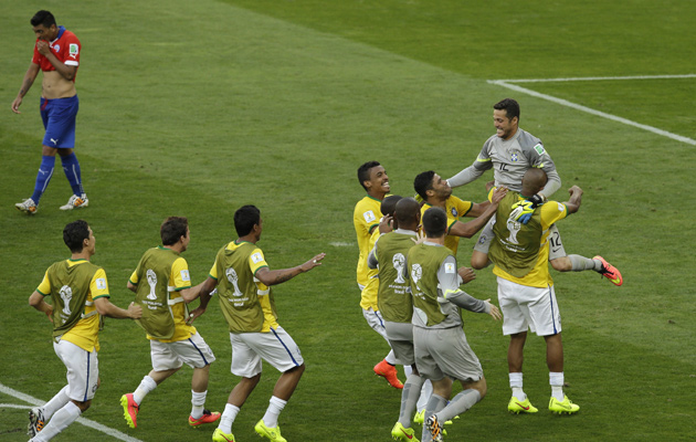 Brazil celebrate after shootout win