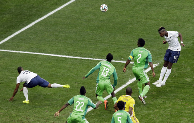 Paul Pogba scores for France against Nigeria.