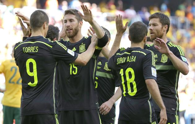 Spain celebrate against Australia