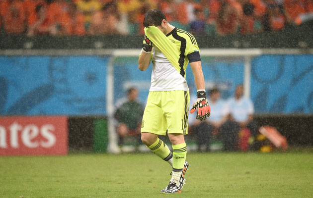 Iker Casillas cut a dejected figure after Spain's 5-1 defeat to Holland.