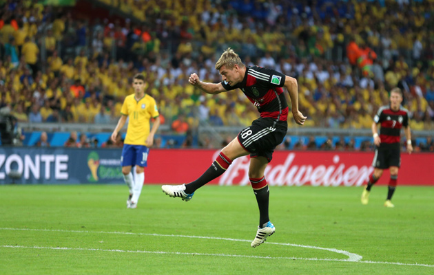 Germany's Toni Kroos scores his side's third goal of the game