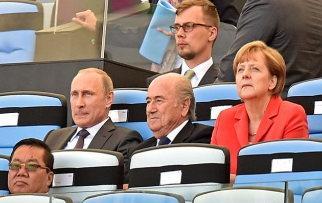 Vladimir Putin, Sepp Blatter and Angela Merkel