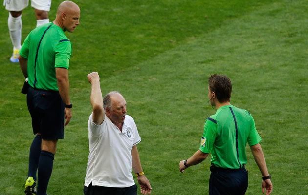 Luiz Felipe Scolari and Howard Webb