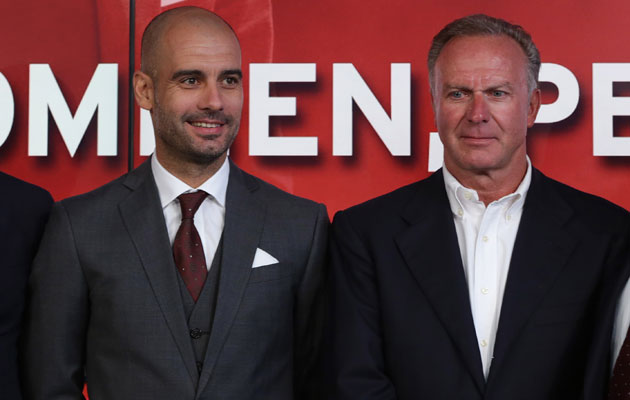 Pep Guardiola and Karl-Heinze Rummenigge Bayern Munich