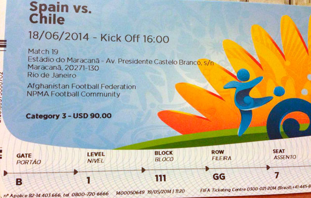 Ray Whelan World cup ticket