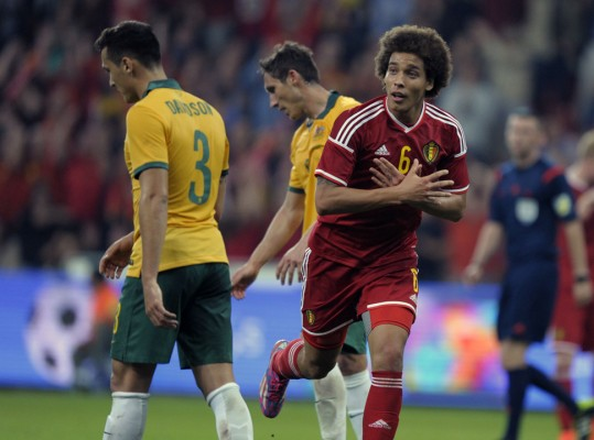 Witsel of Belgium celebrates after scoring against Australia during their international friendly soccer match in Liege