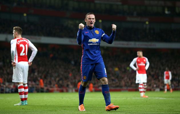 Wayne Rooney celebrates Manchester United opener