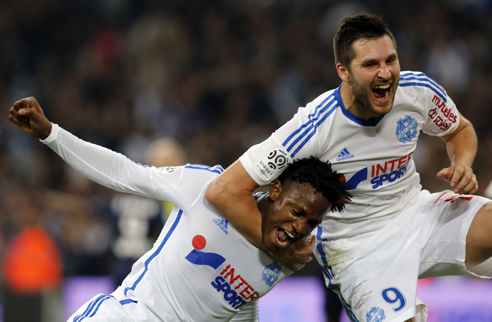 Olympique Marseille's Batshuayi celebrates with teammate Gignac after scoring against Girondins Bordeaux during their French Ligue 1 soccer match at the Velodrome stadium in Marseille