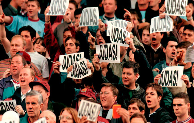 West Ham fans show their feelings about Paul Ince.