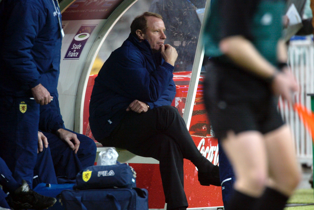 GERMAN MANAGER OF SCOTLAND BERTI VOGTS WATCHES FRIENDLY SOCCER MATCHAGAINST FRANCE.