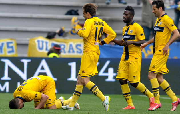 Parma's Andy Lila, left, celebrates with his teammates after scoring against Sassuolo.