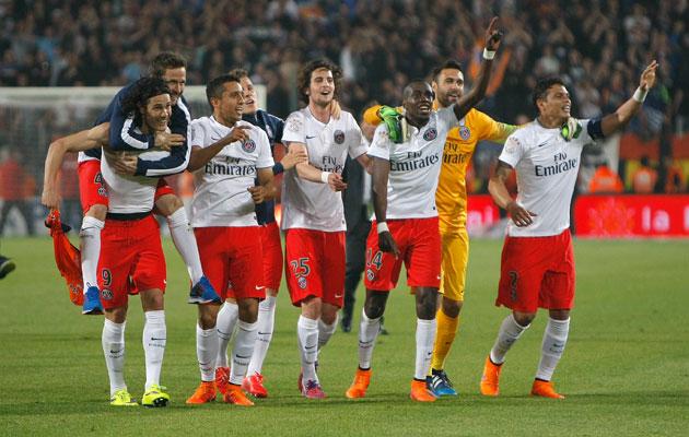 PSG players celebrate their title triumph.