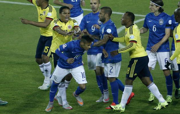 Neymar sent off in mass brawl as Brazil suffer Colombia defeat