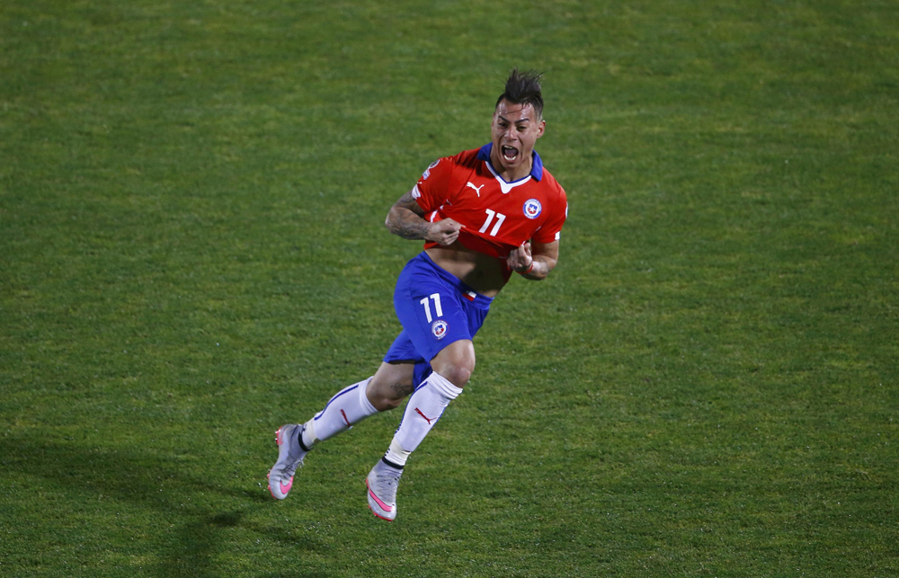 Chile's Eduardo Vargas celebrates his second goal against Peru during their Copa America semi-final match at the National Stadium in Santiago.