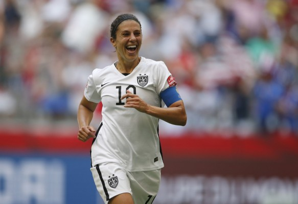 Carli Lloyd scores hat trick goal from the halfway line