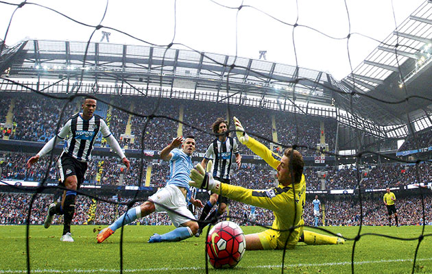 Finisher...Sergio Aguero scores his fifth goal in Manchester City's 6-1 victory over Newcastle United in October
