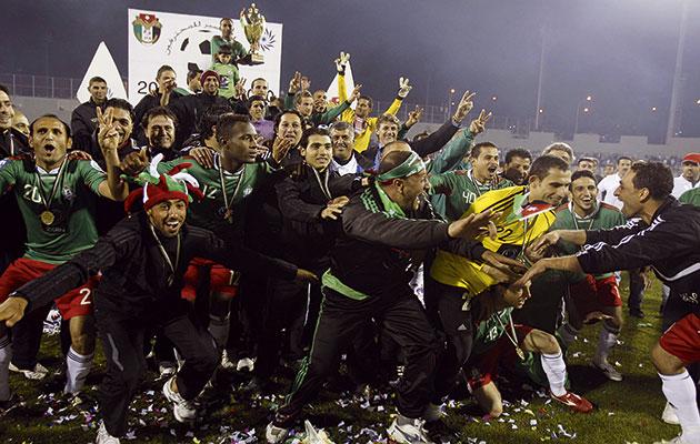 Silverware…Al Wehdat celebrate winning the 2011 Jordan Super Cup